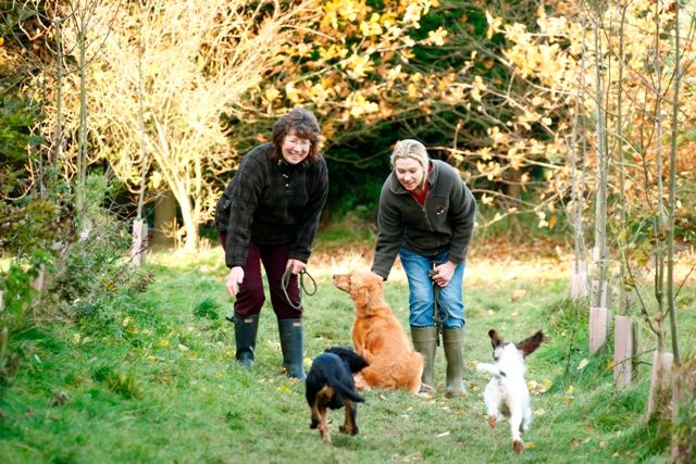 Tawnyhill Boarding Kennels - Jean and Charlotte walking dogs